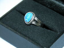LOT 218 STUNNING BOULDER OPAL SOLID STERLING SILVER RING SIZE J 1/2