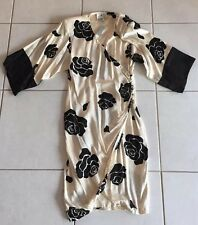 NWT! Vintage Sz 14 Flora Kung 100% Silk Wrap Around Dress Black White Floral