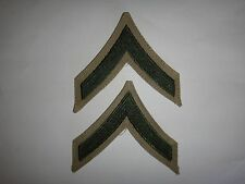 Pair Of USMC PRIVATE FIRST CLASS Green-On-Khaki CHEVRONS *Never Worn*