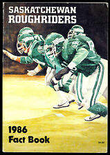 1986 CFL FOOTBALL SASKATCHEWAN ROUGHRIDERS YEARBOOK FACT BOOK RON LACASTER PIC