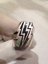 1980's Vintage Large Silver Stainless Steel Size 8 Black Lighning Bolt Ring