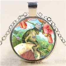 Frog  Sits on Mushroom Cabochon Glass Tibet Silver Chain Pendant Necklace