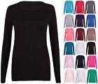 NEW WOMENS PLAIN LONG SLEEVE T-SHIRT LADIES CASUAL CREW NECK PLUS SIZE TOP 14-18