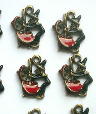 4 Witch Stirring a Cauldron Charms Enamelled Bronze Tone Metal