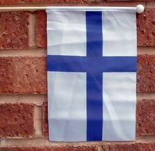 "FINLAND HAND WAVING FLAG medium 9"" X 6"" wooden pole flags Helsinki"