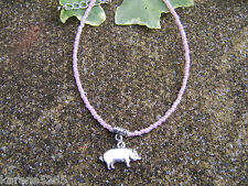 BEADED ANKLET WITH PIG CHARM.GLASS SEED BEADS UK MADE.GIFT FOR PIG LOVER'S