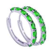 Emerald Green Oval Gemstone Fashion Jewelry Women AAA Silver Earrings Free Ship