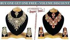 Gold Plated Party wear Zerconic Kundan Style Necklace Sets Volume Discount bg104