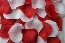 100 x WHITE AND RED SILK ROSE PETALS WEDDING CONFETTI TABLE DECORATION