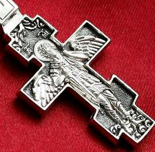 RUSSIAN GREEK ORTHODOX CRUCIFIX CROSS. 925 STERLING SILVER. ARCHANGEL MICHAEL.