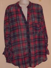Target Xhilaration Red/Blue/White Semi Sheer Plaid Blouse Button Front Size L