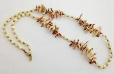 """Vintage Miriam Haskell White & Peach Shell Beaded Necklace, 28"""", Signed"""