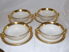 Vintage Lenox 86 1-2 pattern Ivory with Gold 4 Cream Soup Cup & Saucer Sets