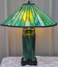 TIFFANY STYLE ARTS CRAFTS MISSION PRAIRIE LAMP BEADED SHADE GLAZED CRACKLE BASE