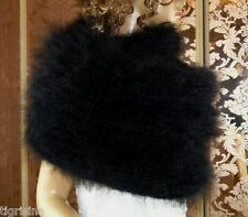 Mohair Hand Knitted Unisex Fluffy Black Circular Infinity Loop Scarf Shawl