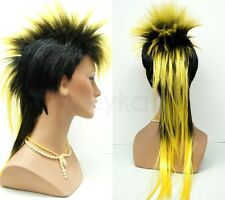 Mens Black Yellow Mohawk Wig Long Straight Punk Rock Synthetic Costume