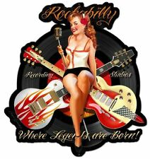 Oldschool Schild Rockabilly Sexy Pin Up Musik Gitarre Rock n Roll Werbung