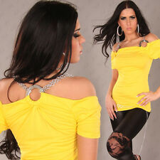 NEW SEXY OFF SHOULDER PARTY TOP w RINGS & CHAINS SZ 6 8 10 - YELLOW