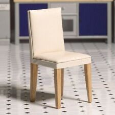 Cream Faux Leather Dining Chair for a dolls house - 12th scale miniature chair