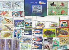 100 All Different FISH & SEA LIFE on Stamps