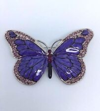 PURPLE BUTTERFLY DIAMANTE CLEAR SILVER TONE AMETHYST CRYSTAL ALLOY ENAMEL BROOCH