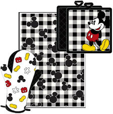 Disney Mickey Pie Kitchen Towel Set Black White [3-Piece Set]