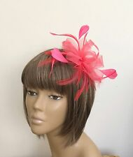 Coral Feather Fascinator Headpiece On Comb Mother Of The Bride/Groom Weddings