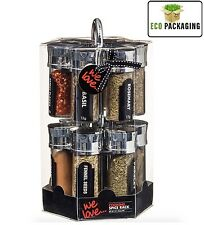 REVOLVING CHROME SPICE RACK STAND WITH 12 STORAGE JARS SPICES & HERBS INCLUDING