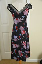 Betsey Johnson Black Cat Print Dress Size S Mid-Calf Cap Sleeve Sheath Polyester
