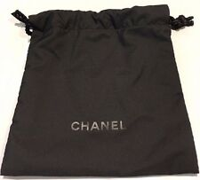 NEW AUTHENTIC CHANEL LOGO BLACK FABRIC Drawstring Gift Bag Pouch Black 5 1/2""