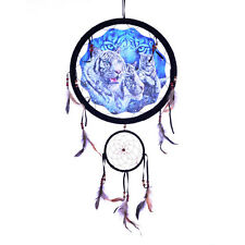 BEAUTIFUL WHITE TIGERS DREAM CATCHER Wild Cat Animal Feather Craft Gift NEW