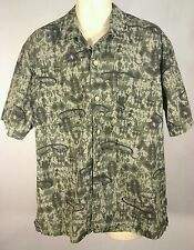 GUESS Hawaiin Mens short sleeve Camp Camouflage Shirt Green Brown L Vintage