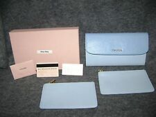 Miu Miu by Prada XX Lg Wallet bicolor blue on blue + 2 pouches EX cond.