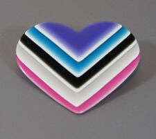 Vintage Lea Stein Heart with Multi-Colored Layered Brooch pins signed