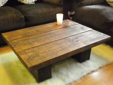 SOLID PINE WOOD LOW COFFEE TABLE CHUNKY RUSTIC PLANK MODERN SHABBY CHIC