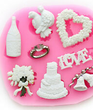 Wedding Fondant Cake Chocolate Embosser Candy Pastry Cookies Decor Silicone Mold