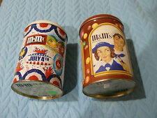 TWO m&m OLDER Tins - Navy/ Shell coating/ Girl with m&ms tin / 4th OF JULY VOTE