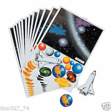 12 SPACE Shuttle Galaxy Solar System Everyday Party Favors STICKER SHEETS