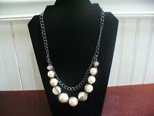 "Vintage Pewtertone Metal Chain Smooth & Beaded White Plastic Bead 21.5"" Necklace"