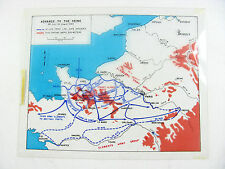 Antique Clear WWII Map ADVANCE TO SEINE 1944 Elements Army Group CANADIAN ARMY