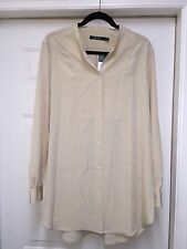 WOMEN'S Ralph Lauren SOLID BEIGE DRESSY polyester BLOUSE LONG SLEEV XL may fit L