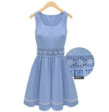 Brand New Korean Style Kawaii Soft Hollow Lace Summer Princess Casual Dress XS
