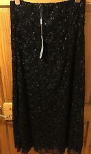 Per Una Black Sparkly Silver Long Textured skirt Size 12L Long Tall BNWT Cruise