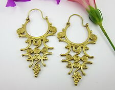 GORGEOUS NEPAL TRIBAL ART SOLID BRASS HAND-CRAFTED EARRINGS Jewelry Women