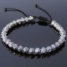 Men's Women Braided Bracelet 925 Sterling Silver Cross Beads DIY-KAREN 870