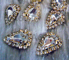 Teardrop Sew On Rhinestones Crystal Clear DIY 4 hole Gold Montee Button Beads
