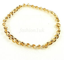 14K Yellow Gold Plated Men Women Unisex Birthday Xmas Circle Chain Bracelet
