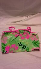 Bathing suit top green and pink flowers girls size 12