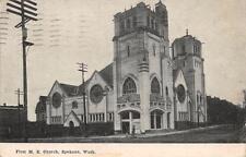 SPOKANE WA First M. E. Church Washington Vintage Postcard 1910