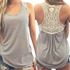 Fashion Women Summer Lace Vest  Tops Sleeveless Blouse Casual Tank Tops T-Shirt